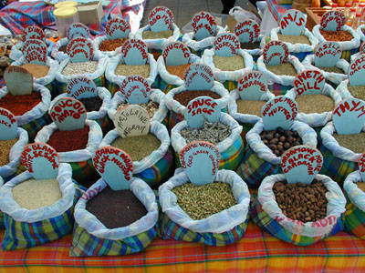 spices in the market at Marigot Bay, Saint Martin