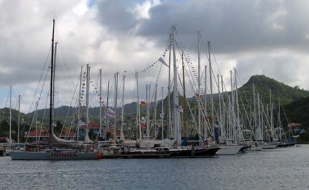 ARC boats after the finish in Rodney Bay Marina