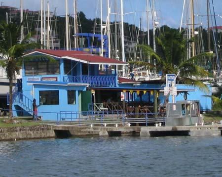Fuel dock, boatyard and pub at Rodney Bay, St. Lucia